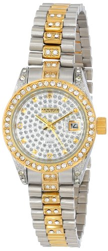 Akribos XXIV Women's AK487TTG Diamond Quartz Gold Two-Tone Stainless Steel Bracelet Watch