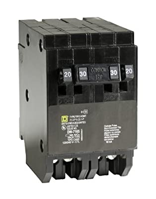 Square D by Schneider Electric HOMT2020230CP Homeline 2-20-Amp Single-Pole 1-30-Amp Two-Pole Quad Circuit Breaker