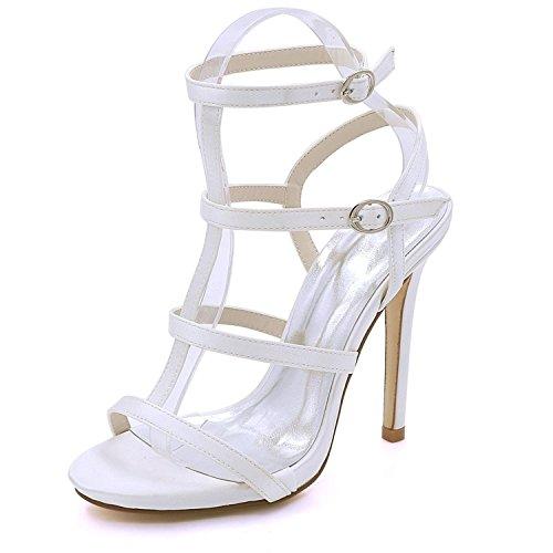 Party Hauts 08 à Open Satin Chaussures Toe YC de White mariée D7216 L Talons Prom Mariage d'été de Femmes t0wPAxnX