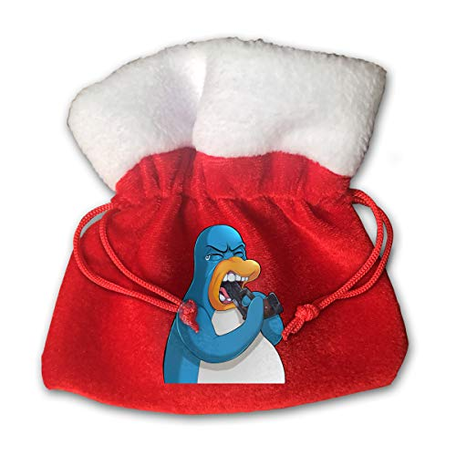 Beauty Club Penguin Print Christmas Candy Gifts Sack Santa Gift Treat Kids Drawstring Present Bag Tote Ornament Decoration Made Gold Velvet -Special Edition (Create Penguin Club)