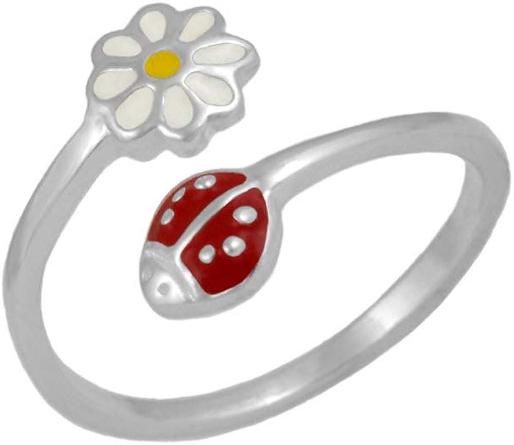 Silver Enamel Ladybug /& Daisy Flower Adjustable Girls Ring Size 3-7