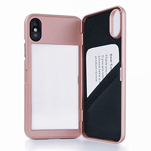 W7ETBEN Case for iPhone X/XS,Hidden Back Mirror Wallet Protective Case with Stand Feature and Card Holder for Apple iPhone X, XS 5.8 (Rose Gold)