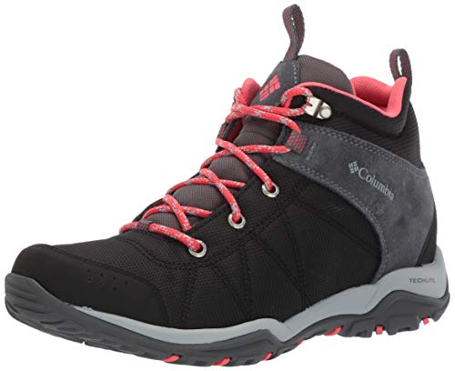 Columbia Women's FIRE Venture MID Textile Hiking Boot Black, red Coral 10.5 Regular US