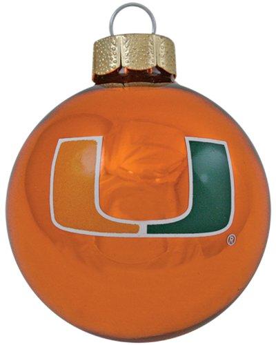 NCAA Miami Hurricanes 3-Piece Glass Ball Ornament Set -