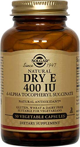 - Solgar Dry Vitamin E 400 IU D-Alpha Tocopheryl Succinate Vegetable Capsules, 50 Count