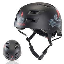 Flybar Dual Certified CPSC Multi Sport Kids & Adult Bike And Skateboard Adjustable Dial Helmet,Cloud Formations,M-L