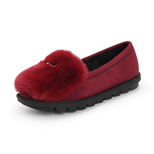 Cómodo Zapatos Planos de Otoño e Invierno Zapatillas de Algodón de Las Señoras de Moda Gruesa Caliente Zapatos de Interior Calientes Mensuales Zapatos 3 Colores Opcionales Tamaño Opcional Aumentado ( A