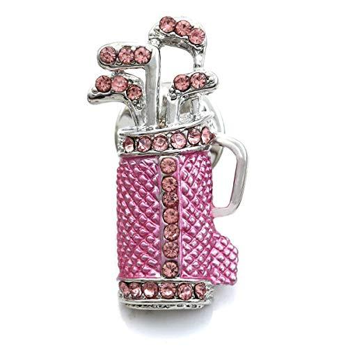 Soulbreezecollection Pink Golf Club Bag Golfer Brooch Pin Rhinestone Sports ()