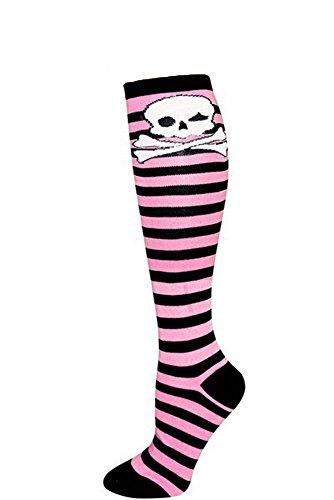 Skull Pattern Fashion Women / Ladies Stylish Stripes Knee High Socks - Black / Pink / White Skull (Pink Knee Socks Skull)