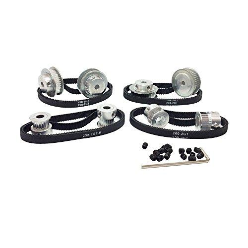 BEMONOC HTD 2GT Timing Belt Pulley Kits GT2 Timing Belt Closed-loop 200mm Pulley 20 Teeth and 60 Teeth for 3D Printer Accessories