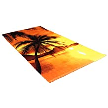 J & M Home Fashions Fiber Reactive Beach Towel, 30-Inch by 60-Inch, Sunset Palm Trees