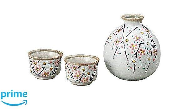 SET of 5 Japanese Porcelain Sake Bottle /& Cups Set Snow Cherry Blossom Plum Tree