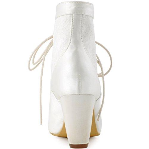 Zapatoslace Chiusa Novia Tacon Saten Boda Marfil Elegantpark Lace Chunky Punta Botines Mujer Hc1528 RwgxqBUY