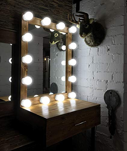 Makeup Mirror Lights Hollywood Style LED Vanity Mirror Lights 10 LED Bulbs Kit for Makeup Dressing Table with Touch Dimmer and Power Supply Plug in Lighting Fixture Strip( Mirror Not Included )