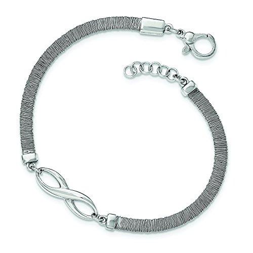 4,25mm en argent sterling poli texturé Bracelet Infini avec rallonge 1,9cm-20cm