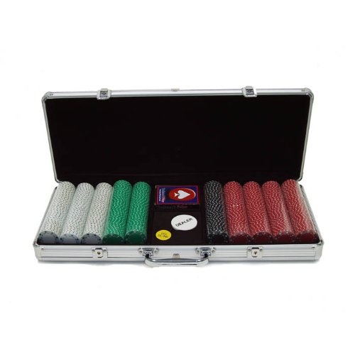 (Trademark Poker 500 11.5-Gram Suited Poker Chip Master Set in Silver Aluminum Case)