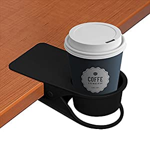 LOHOME Cup Holder, Coffee Water Soda Bottle Clip on Edage of The Table DIY Glass Clamp (Black)