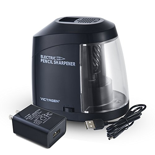 Victagen Electric Pencil Sharpener, AC Adapter or Battery Operated Helical Blade Pencil Sharpener with Auto Stop, Artist, Students, and Office, Kids Friendly by Victagen