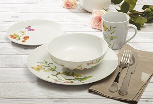 Safdie & Co. AM02684 16 Piece Botanical Butterflies Dinner Set, 16pcs, White
