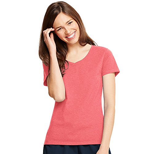 Hanes Womens X-Temp V-Neck T-Shirt 42V0, XL, Charisma Coral