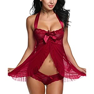 Avidlove Lingerie for Women Lace Babydoll Dress Backless Halter Chemise