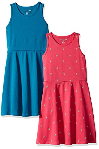Amazon Essentials Big Girls' 2-Pack Tank Dress, Pineapple/Teal, XXL (14)