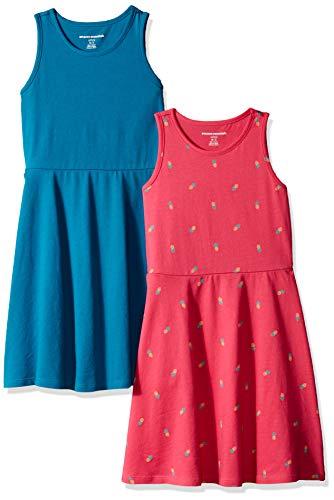 Amazon Essentials Little Girls' 2-Pack Tank Dress, Pineapple/Teal, X-Small