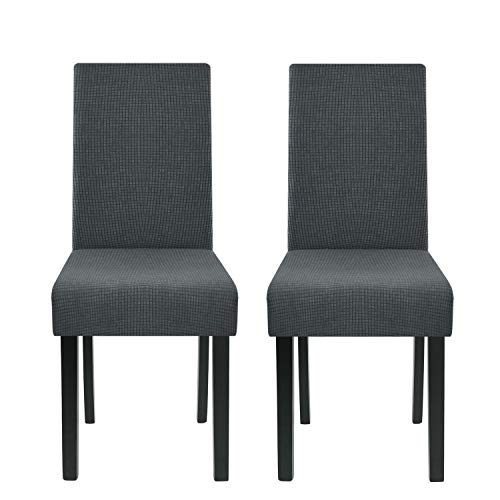 Homluxe High Stretch Chair Covers Dining Room Water Repellent Fabric Parson Chair Slipcovers (Pack of 2, Dark Gray)