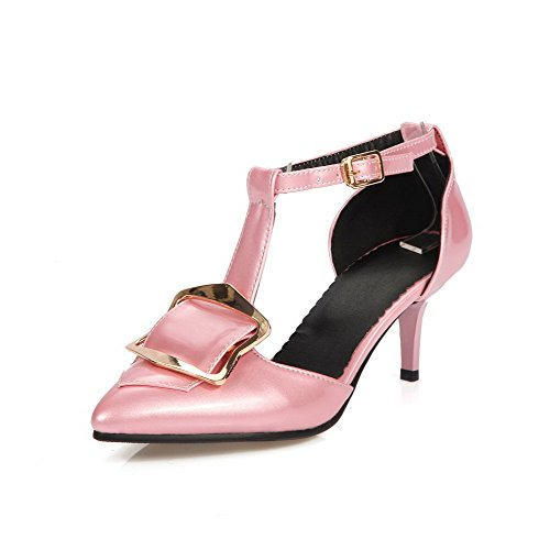 AmoonyFashion Womens Solid Patent Leather Kitten Heels Pointed Closed Toe Buckle Pumps Shoes Pink ELw7TtTh1s