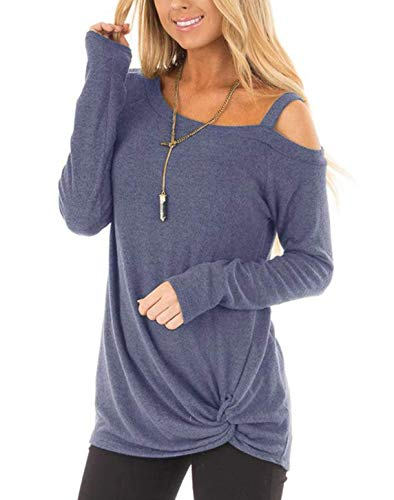 ZILIN Women's Cold Shoulder T-Shirt Long Sleeve Knot Twist Front Tunic Tops Blue