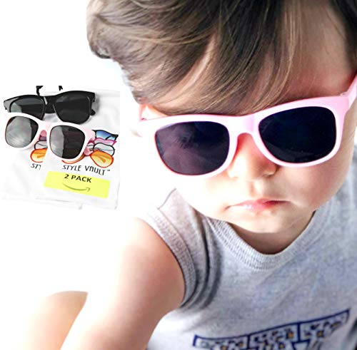 Kd3006 infant baby Toddlers 0~24 Months Old retro 80s Sunglasses 0~2 year old (Pack of 2(Black+Pink)) -