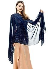 REEMONDE Womens Rhinestones Pashmina Shawls and Wraps for Evening Dresses Chiffon Shawl Sparkly Scarf