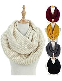 Womens Winter Ribbed Knit Infinity Circle Loop Scarf Thick Ribbed