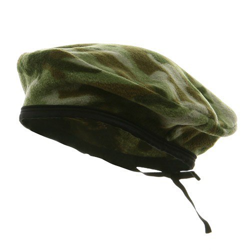 - e4Hats.com Camo Fleece Beret-Green OSFM