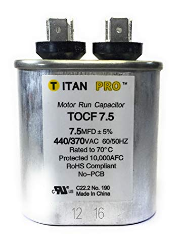 Motor Run - Motor Run Capacitor, 7.5 MFD, 2-3/4 In. H