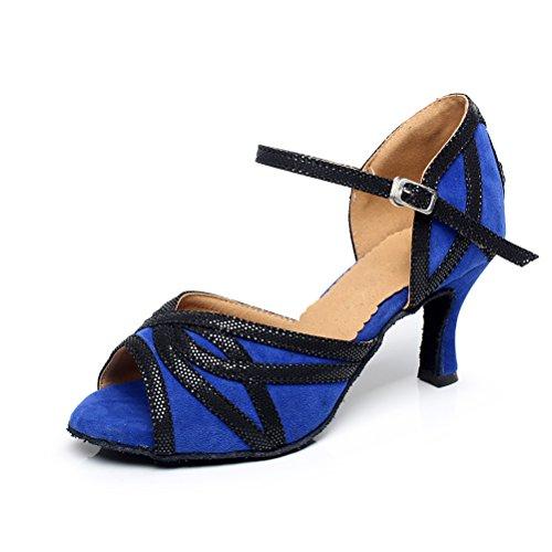 Bcln Sandales À Bout Ouvert Pour Femmes Latin Salsa Tango Talons Chaussures De Danse De Salon Pratique Avec 2.75 Talon Bleu