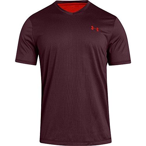 Under Armour Mens Tech V-Neck T-Shirt, Dark Maroon (605)/Radio Red, Small