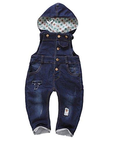 Kidscool Baby Dark Blue Denim Adjustable Soft Overalls with Hat