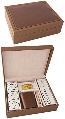Ciaf Estuche Madera Polipiel BARAJA FOURNIER Dados Domino Y CUBILETE, Poker: Amazon.es: Juguetes y juegos