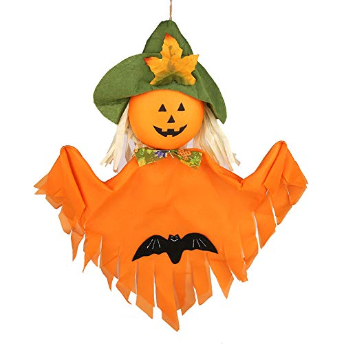 ((Pack of 2) Halloween Theme Party Decoration Hanging Ghost Windsock, Spook Pumpkin Fly Witch Scarecrow Doll for Front Yard Patio Lawn Garden(Pumpkin))