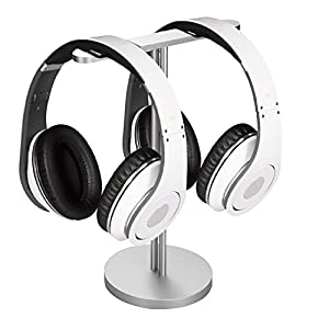 Flexzion Headphone Stand with Dual Sides Lightweight and Solid Aluminum Base - Universal Headset Holder Earphone Display Hanger Mount Rack for Beats Desk Classroom Home Office Exhibition Silver