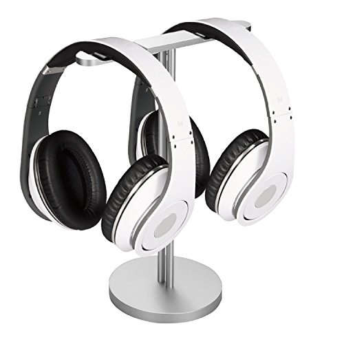 Flexzion Headphone Stand with Dual Sides Lightweight and Solid Aluminum Base – Universal Headset Holder Earphone Display Hanger Mount Rack for Beats Desk Classroom Home Office Exhibition Silver