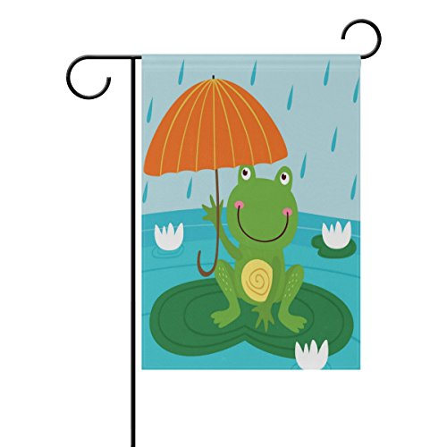 ALAZA Frog Hide from Rain Under Umbrella Garden Flag Vertical Double Sided Print Spring Summer Happy Memorial Day Independence Day Yard Decorative 12 x 18 Inch