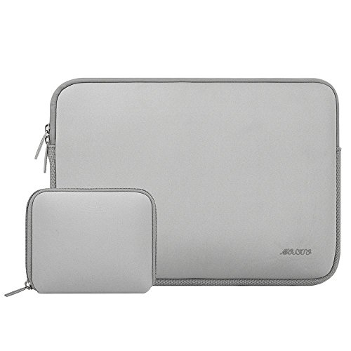 Mosiso Water Repellent Lycra Sleeve Bag Cover for 15-15.6 Inch MacBook Pro, Notebook Computer with Small Case, Gray