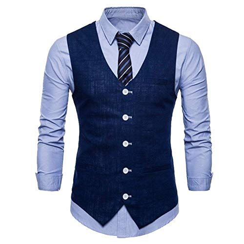 Blazer V Jeune Hommes cou Dunkelblau Solide D'affaires Slim Costume Gilet Fit Couleur Occasionnels ZvzpqZH