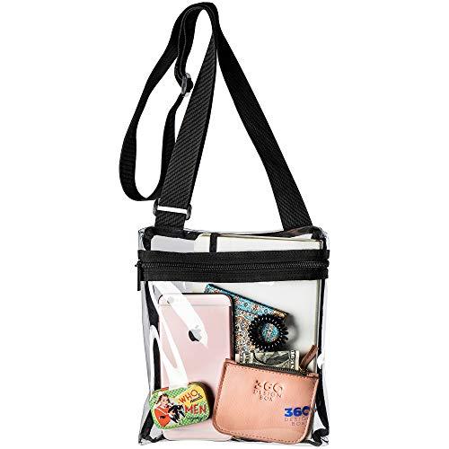 (360 DESIGN BOX Clear Cross-Body Messenger Shoulder Bag, PGA, NCAA & NFL Stadium Approved Transparent Purse, See Through Security)