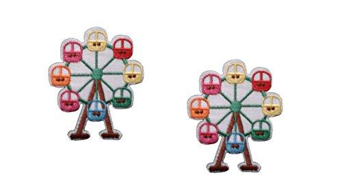 2 pieces FERRIS WHEEL Iron On Patch Fabric Applique Motif Travel Summer Holiday Amusement Theme Park Children Decal 2.2 x 1.8 inches (5.5 x 4.5 cm)