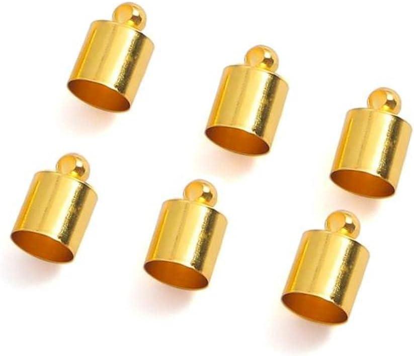 50 unids/lote borla de cuero cordón extremo engarzado Cap 3 4 5 6 7 8 9 10 mm cuentas tapas extremo tapas para hacer joyas DIY Suministros - oro, 9 x 4 mm 50 piezas
