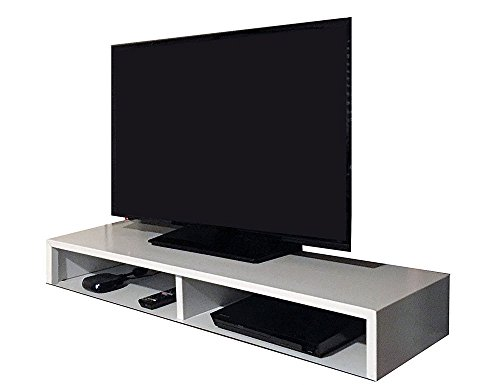 RIZERvue TV Stand for Flat Screen White Tabletop Up to 50 Diagonal No Assembly Required