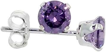 Sterling Silver Cubic Zirconia Amethyst Earrings Studs 4 mm Purple Color 1/2 carat/pair